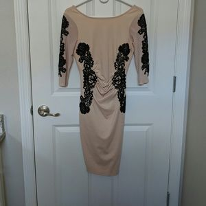 Blush pink with black lace cocktail dress